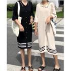 Elbow-sleeve Stripe Knit Dress