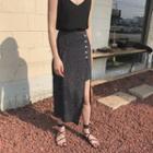 Dotted Asymmetrical A-line Midi Skirt