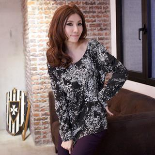 Ruched-side Printed Long-sleeve Top