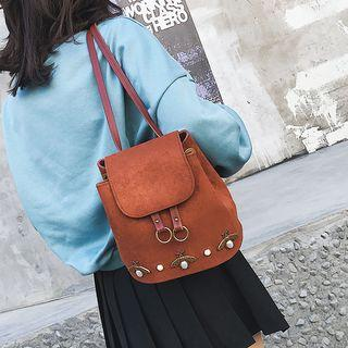 Faux Leather Beetle Accent Backpack