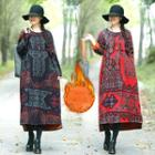 Fleece-lined Patterned Long-sleeve Midi A-line Dress