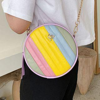 Color Panel Faux Leather Round Crossbody Bag