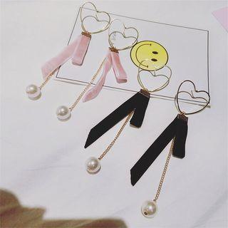 Ribbon Heart Pearl Drop Earrings