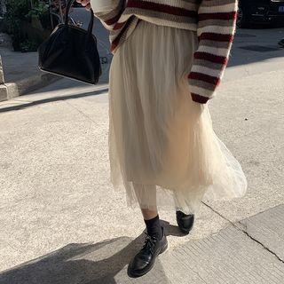 Midi A-line Mesh Skirt Light Almond - One Size