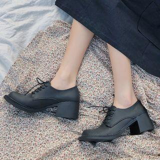 Faux Leather Chunky Heel Lace-up Loafers