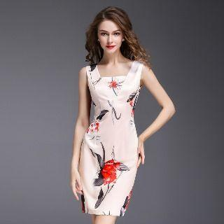 Square Neck Flower Sheath Dress