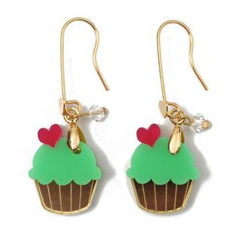 Sweet&co Mini Gold Green Cupcake Crystal Earrings Gold - One Size