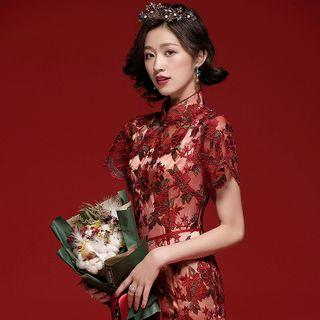 Short-sleeve Floral Embroidered Lace Qipao