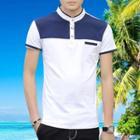 Short-sleeve Two-tone Polo Shirt