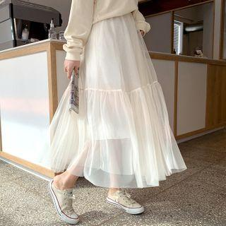 Frill-trim Maxi Tulle Skirt