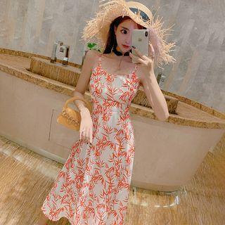Spaghetti Strap Leaf Print Midi Dress