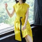 Short-sleeve Placket Shirt Dress