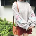 Frilled Trim Floral Embroidery Top