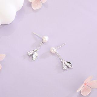 Faux Pearl Leaf Drop Earring Es1350 - Silver - One Size