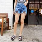 Mesh-trim Denim Shorts