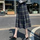 Woolen Plaid Pleated Midi Skirt