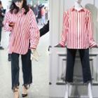 Oversized Stripe Shirt / Distressed Jeans