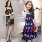 Sleeveless Patterned Chiffon A-line Dress