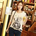Eiffel Tower Print Long-sleeved T-shirt