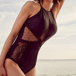 Halter-neck Paneled Swimsuit