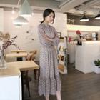 Mock-neck Long Chiffon Dress