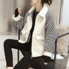 Pattern Panel Zip Fleece Jacket