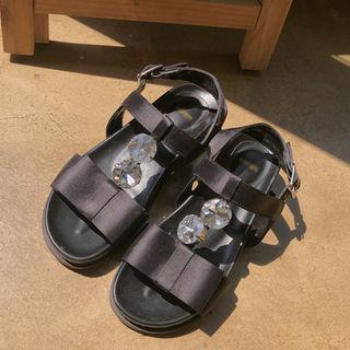 Satin Ribbon Cubic Sandals