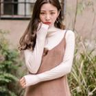 Set Of 2: Turtle-neck Ribbed Top