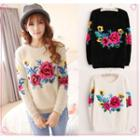 Floral Mohair Knit Top