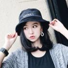 Letter Embroidered Corduroy Bucket Hat