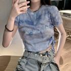 Set: Short-sleeve Tie-dyed Drawstring T-shirt + Wide Leg Denim Shorts