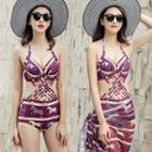 Set: Print Lattice Swimsuit + Cover-up