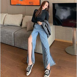 Slited Wide-leg Jeans