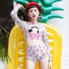Set: Floral Print Bikini + Cartoon Print Rashguard