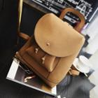 Drawstring Flap Faux-leather Backpack