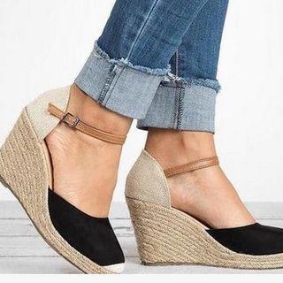 Closed Toe Espadrilles Wedge Heels Platform Sandal