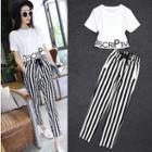 Set: Short-sleeve Lettering T-shirt + Striped Harem Pants