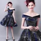 Off-shoulder Glitter Mini Prom Dress
