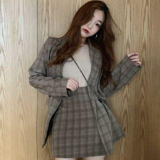 Plaid Blazer / Top / Mini A-line Skirt