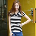 Striped Open-placket Top