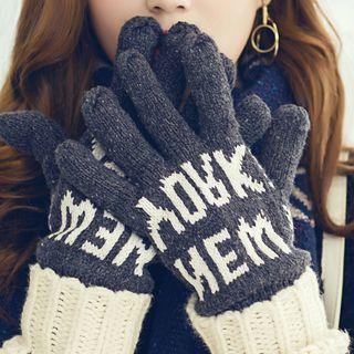 Couple Matching Lettering Knit Gloves