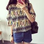 Cutout Shoulder Cat Print Short-sleeve T-shirt