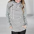 Zip Detail Striped Hooded Pullover
