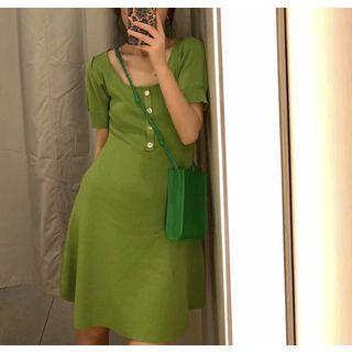 Short-sleeve A-line Knit Dress As Shown In Figure - One Size