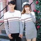 Couple Matching Patterned Knit Pullover / Long-sleeve Patterned Knit Dress