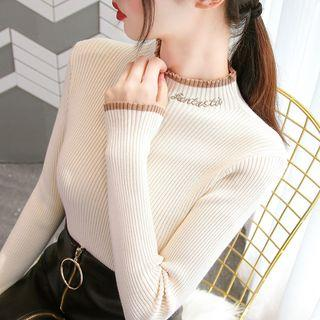 Contrast Trim Letter Embroidered Knit Top