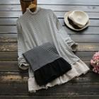 Mock Turtleneck Striped Lace Panel Long-sleeve Top