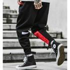 Velcro-hem Colorblock Embroidered Jogger Pants