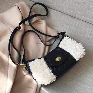 Furry Panel Quilted Crossbody Bag