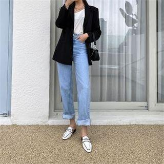 Piped Backless Penny Loafers